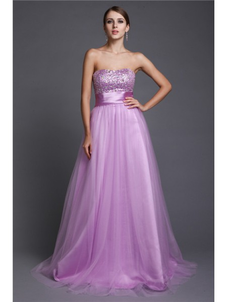 A-Line/Princess Strapless Long Net Dress