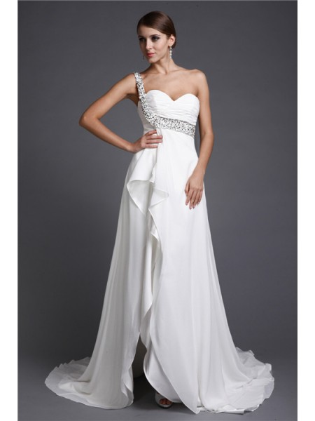 A-Line/Princess One Shoulder Long Chiffon Cocktail Dress