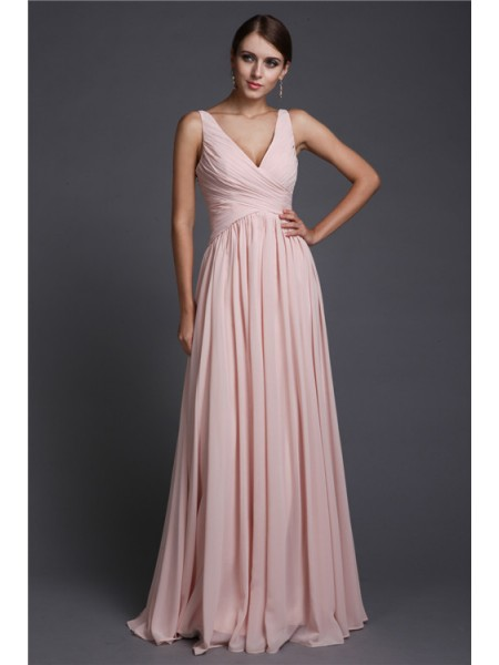 A-Line/Princess V-neck Ruffles Chiffon Bridesmaid Dress