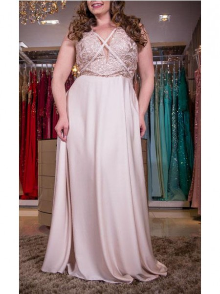 A-Line/Princess V-neck Applique Floor-Length Elastic Woven Satin Plus Size Dress
