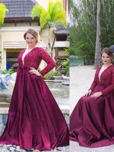 A-Line/Princess V-neck Beading Sweep/Brush Train Satin Plus Size Dress