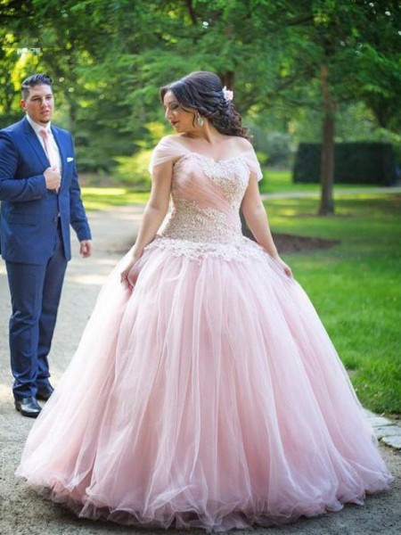 Ball Gown Off-the-Shoulder Applique Floor-Length Tulle Plus Size Dress