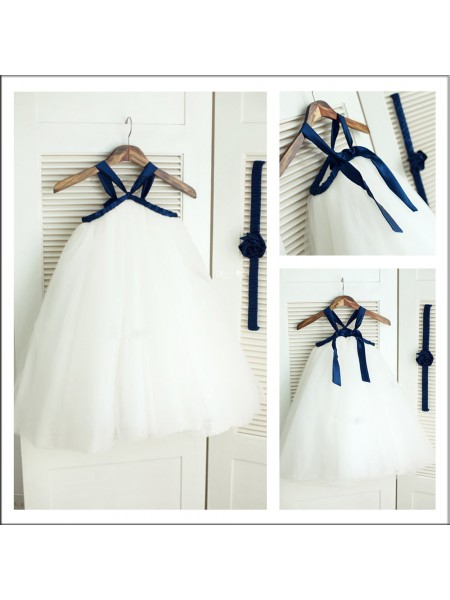 A-Line/Princess Spaghetti Straps Flower Girl Dress with Tulle