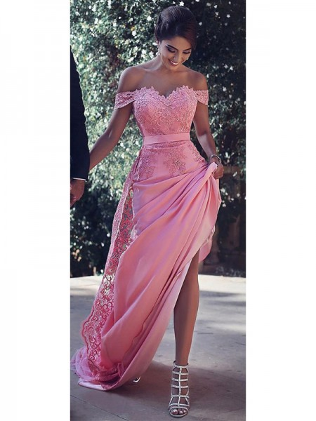 Sheath/Column Off-the-Shoulder Sleeveless Sweep/Brush Train Lace Satin Dresses