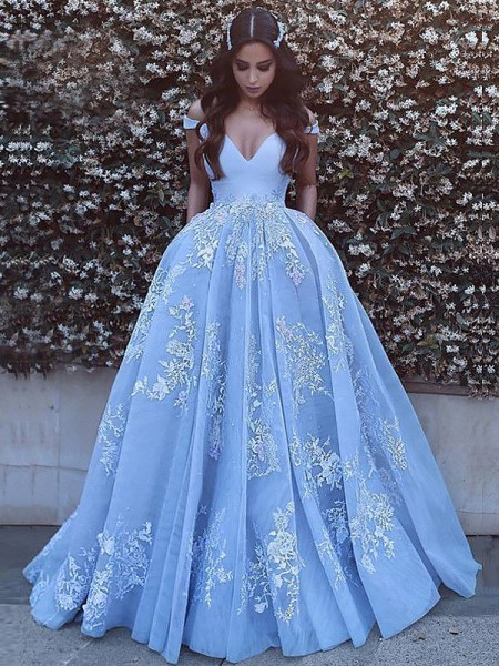 Ball Gown Off-the-Shoulder Applique Tulle Sweep/Brush Train Dress