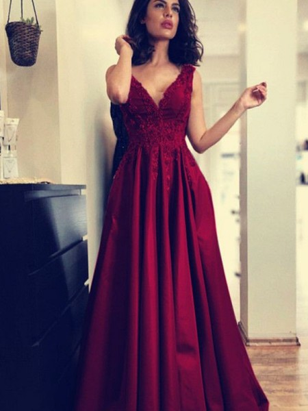 A-Line/Princess V-neck Sleeveless Applique Sweep/Brush Train Satin Dress
