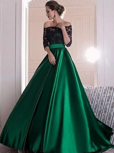 A-Line/Princess 3/4 Sleeves Lace Sweep/Brush Train Satin Dress