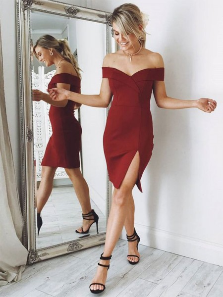 Sheath/Column Off-the-Shoulder Satin Knee-length Dress