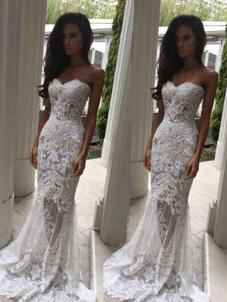Trumpet/Mermaid Court Train Applique Sleeveless Lace Wedding Dress