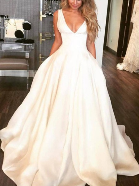 A-Line/Princess Sleeveless V-neck Ruffles Satin Wedding Dress