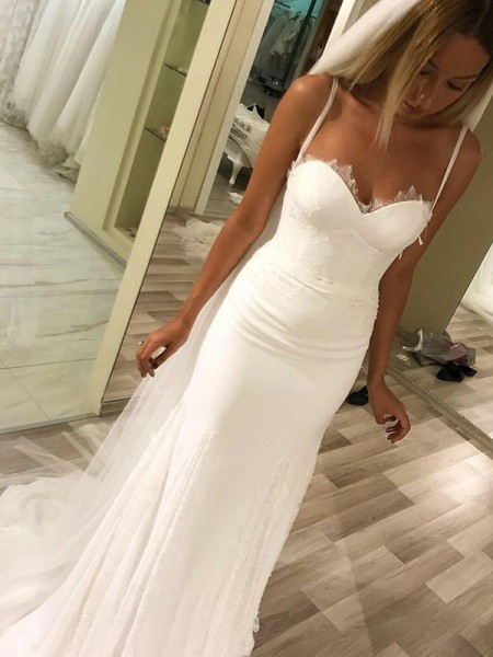 Sheath/Column Sleeveless Satin Wedding Dress