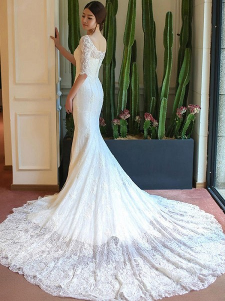 Trumpet/Mermaid 1/2 Sleeves Square Cathedral Train Applique Lace Wedding Dress