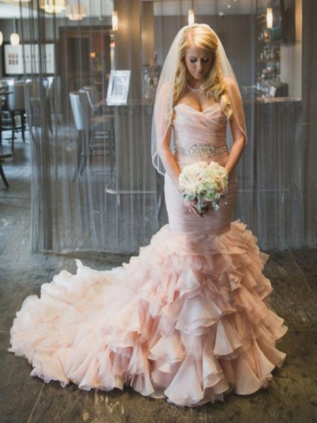 Trumpet/Mermaid Sleeveless Court Train Ruffles Organza Wedding Dress