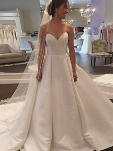 Ball Gown Sleeveless Court Train Satin Wedding Dress