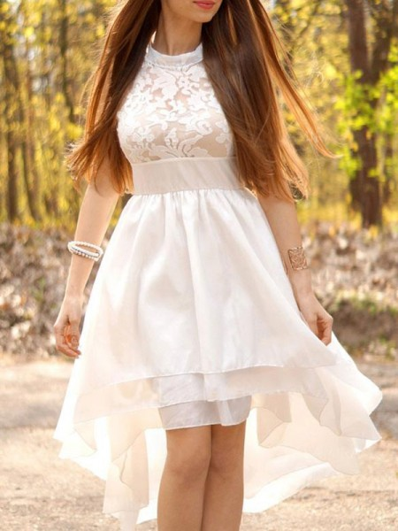 A-Line/Princess Chiffon Halter Asymmetrical Sleeveless Wedding Dress