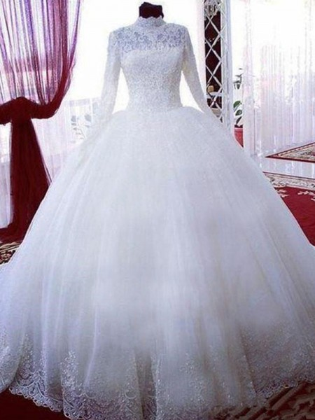 Ball Gown Lace Tulle High Neck Long Sleeves Chapel Train Wedding Dress