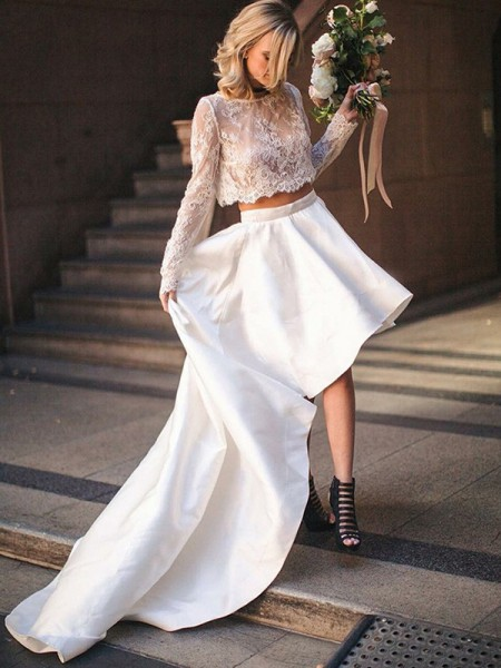A-Line/Princess Satin Lace Scoop Long Sleeves Sweep/Brush Train Two Piece Wedding Dress