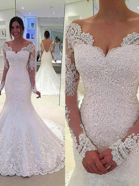 Trumpet/Mermaid V-neck Long Sleeves Lace Court Train Tulle Wedding Dress