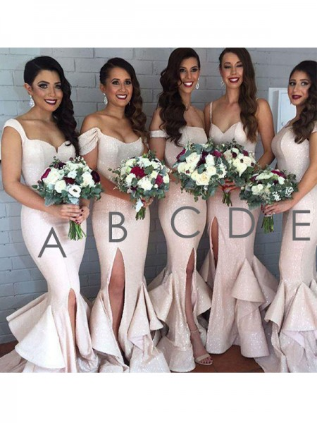 Trumpet/Mermaid Floor-Length Layers Sequins Bridesmaid Dress