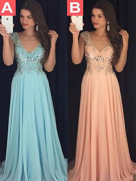 A-Line/Princess V-neck Chiffon Paillette Floor-Length Dress