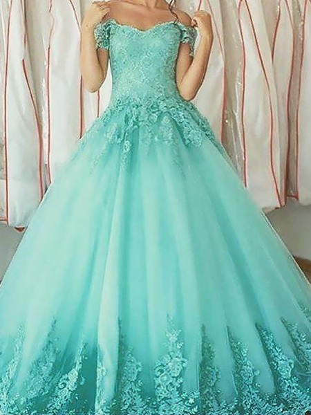 Ball Gown Off-the-Shoulder Applique Floor-Length Tulle Dress