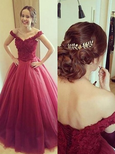 Ball Gown Off-the-Shoulder Applique Court Train Tulle Dress