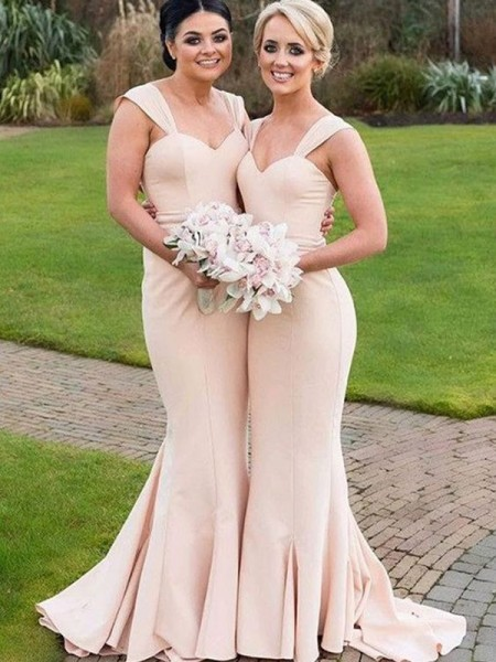 Trumpet/Mermaid Sweetheart Satin Floor-Length Bridesmaid Dress