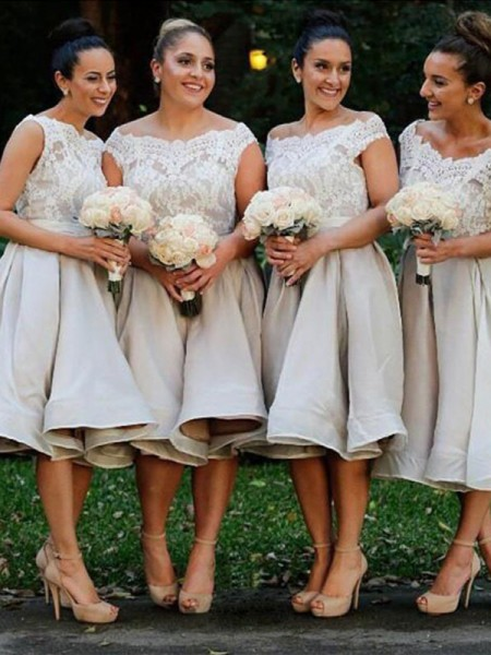 A-Line/Princess Off-the-Shoulder Elastic Woven Satin Knee-Length Bridesmaid Dress