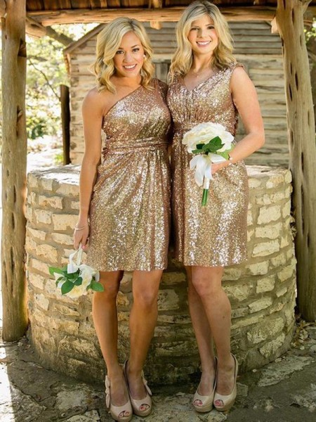 Sheath/Column Sequins Short/Mini Bridesmaid Dress