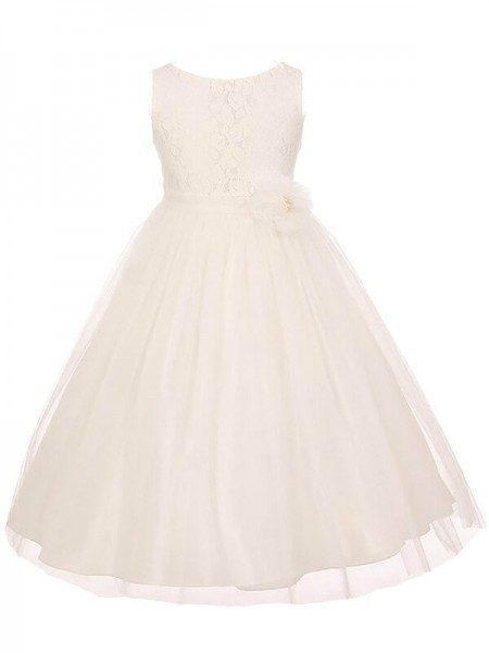 A-line/Princess Scoop Tulle Sash/Ribbon/Belt Ankle-Length Flower Girl Dress