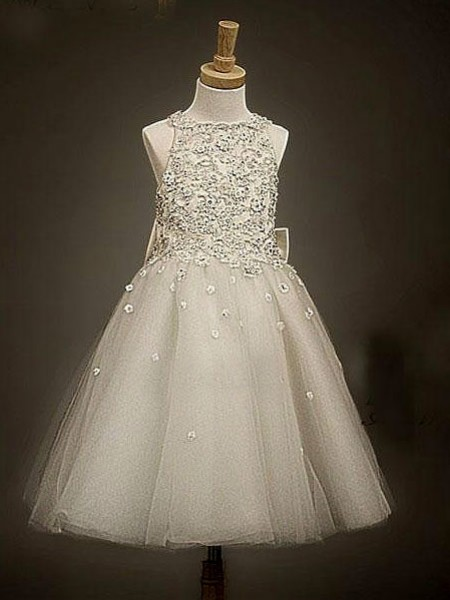 A-line/Princess Scoop Bowknot Tea-Length Flower Girl Dress with Tulle