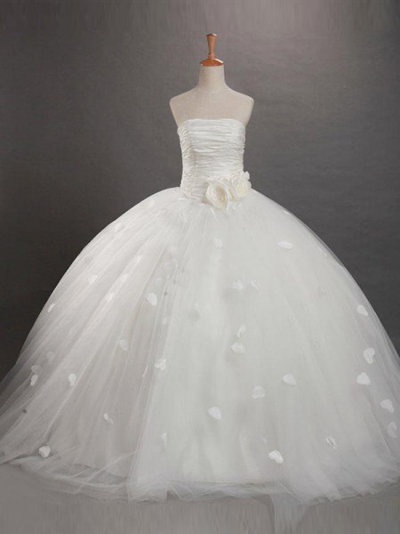 Ball Gown Strapless Ruffles Flower Girl Dress with Tull