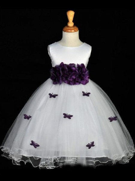 A-line/Princess Scoop Hand-made Flower Flower Girl Dress with Organza