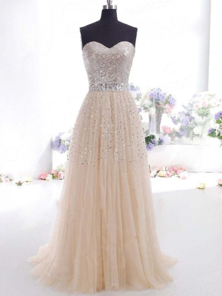 A-Line/Princess Sweetheart Tulle Sweep/Brush Train Dress