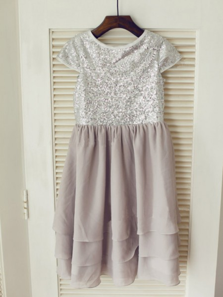 A-line/Princess Jewel Short Sleeves Sequin Long Chiffon Dresses