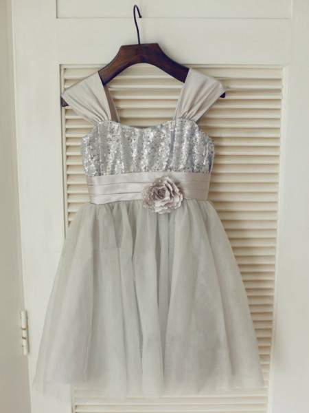 A-line/Princess Straps Bowknot Long Tulle Dress