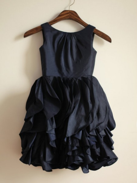A-line/Princess Jewel Long Taffeta Dress